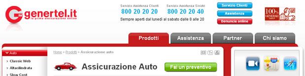Istantanea del sito Genertel.it - Assicurazioni auto