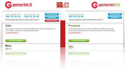 Analisi dell'assicurazione auto online Genertel.it: istantanea dell'Home Page