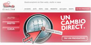 Promozione Direct Line: istantanea dell'Home Page