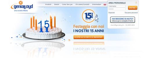 Assicurazione Genialloyd: sul sito si festeggiano i 15 anni di attività