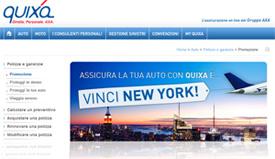 Istantanea dalla agina del concorso Una settimana a New York con Quixa