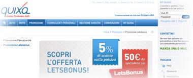 Promozione assicurazione Quixa + Let's Bonus per RC Auto e RC Moto