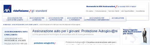 Instantanea della pagina dedicata a Protezione Autogiov@ni di Axa