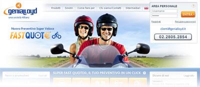 Assicurazione online Genialloyd: istantanea dall'Home Page del sito ufficiale