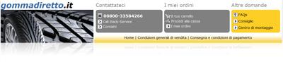 Gommadiretto.it: istantanea del negozio online per pneumatici auto e moto