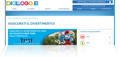 """Assicurazione online Dialogo: pagina della promozione """"Assicurati il divertimento"""""""