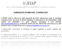 Estratto dal comunicato ISVAP per l'uso di tuOpreventivatOre